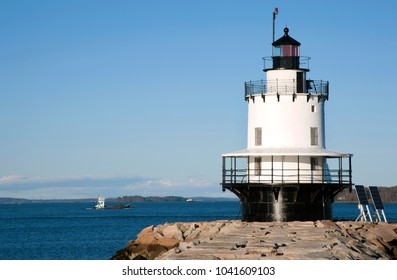 Spring Point Lighthouse guides mariners into Portland Harbor.
