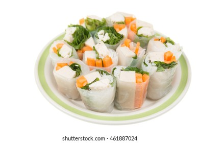 Spring Roll on Dish on isolated white background.
