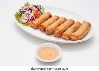 Spring roll and vegetable food in Thalland