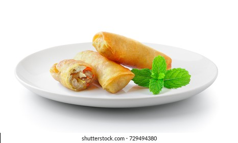Spring rolls food in a plate isolated on a white background