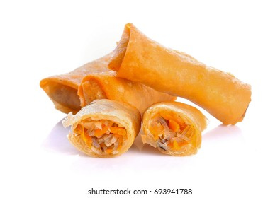 Spring rolls on white background