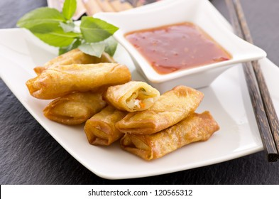 spring rolls with sauce