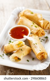 Spring rolls with sweet chili sauce