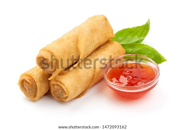 Spring Rolls Sweet Chili Sauce Chinese Stock Photo Edit Now 1472093162