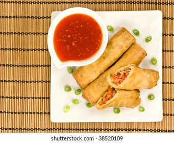Spring Rolls with Sweet Chilli Dipping Sauce and Garnish