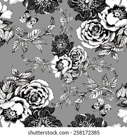 Spring roses and butterflies seamless pattern on gray background