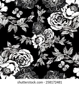 Spring roses and butterflies seamless pattern on black background