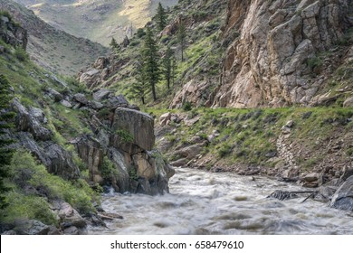 spring runoff of Cache la Poudre River above Fort Collins, Colorado
