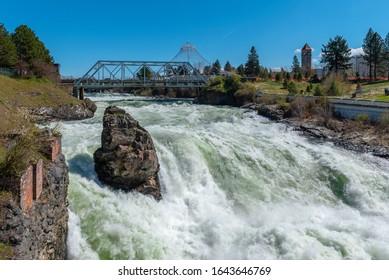 Spring Runoff of Upper Spokane Falls on the Spokane River