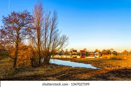 Spring rural village landscape. Rural village panorama. Country village landscape. Rural village view