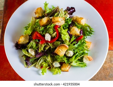 Spring Salad with Croutons
