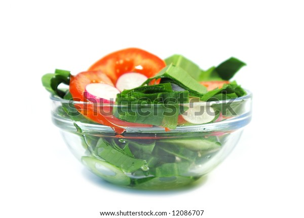 Spring salad from cucumbers, tomatoes and a garden radish