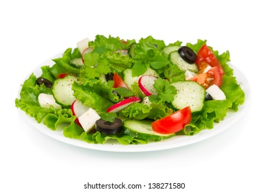 Spring salad with fresh vegetables and olives