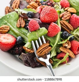 Spring Salad leaves With Berries And Peanuts,Close Up
