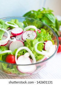 Spring salad with radishes and  onions