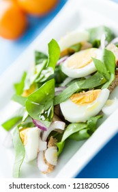 spring salad with spinach and egg, food close-up