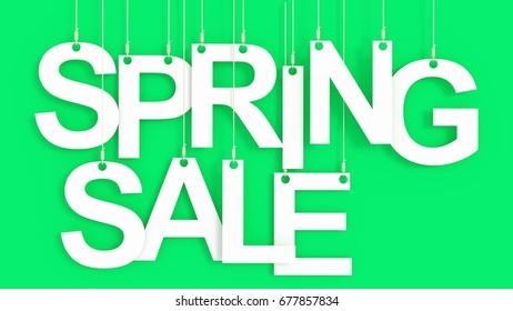 Spring Sale hanging Letters over green background 3D rendering