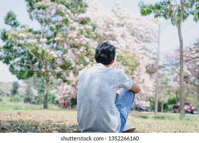 spring season with full bloom pink flower travel concept from beauty asian man enjoy relax and sight seeing sakura or cherry blossom with soft focus background