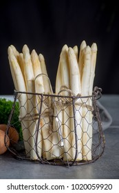 Spring season, new harvest of Dutch, German white asparagus, bunch of raw white asparagus