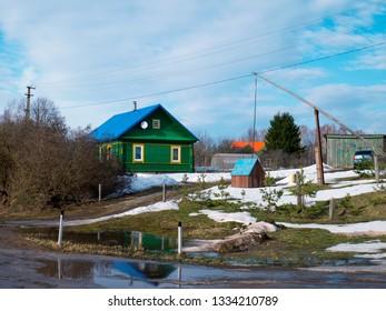 Spring season in Russian village