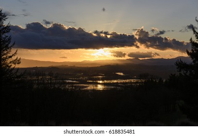 A Spring Silhouette of the Oregon Coast Range, Willamette River and Ankeny National Wildlife Refuge