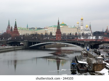 Spring snapshot of Moscow Kremlin, Kremlin embankment, Moscow River and the Kremlin's Wall with Spasskaya, Senatskaya and Nikolskaya towers - Moscow, Russia