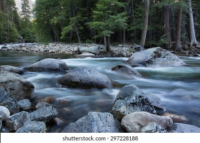 Spring snow melt flowing in the Merced River near Happy Isles, Yosemite National Park, California