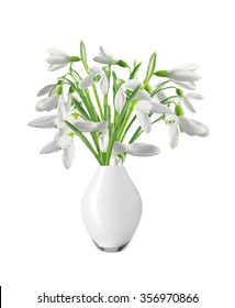 Spring snowdrops in vase isolated on white background