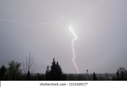 Spring Storm and lightning. Lightning is a sudden electrostatic discharge that occurs typically during a thunderstorm.