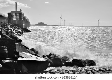 Spring storm at the Oosterscheldekering in black and white.  Province: Zeeland, Country: Netherlands