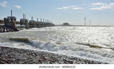 Spring storm at the Oosterscheldekering.  Province: Zeeland, Country: Netherlands