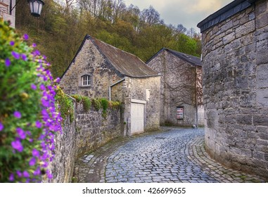 spring street in old Belgium town, Ardennes