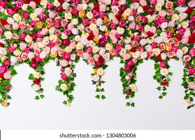 spring and summer background - close up of colorful composition with flowers over white wall