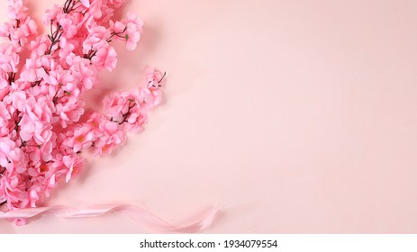 Spring or summer flower composition, still life, banner, minimal holiday concept. Greeting card for mother's day, women's day, valentine's day, happy birthday, wedding, selective focus,