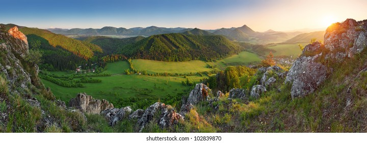 Spring and summer in Slovakia mountain - panoramic view with sun