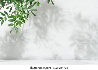 Spring sunlight in green branch of tree with shadow on white marble tile wall,  wood table, copy space. - Shutterstock ID 1924234736