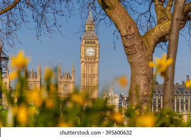 Spring sunny morning in Westminster, London