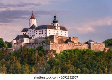 Spring sunrise impression of Castle Forchtenstein (Burgenland, Austria)