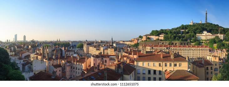 Spring sunrise over Vieux Lyon and Croix Rousse in the French city of Lyon.