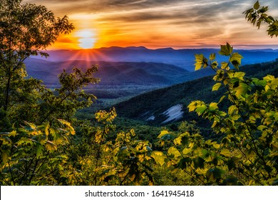 Spring sunset along the Blue Ridge Parkway, Virginia, USA - Shutterstock ID 1641945418