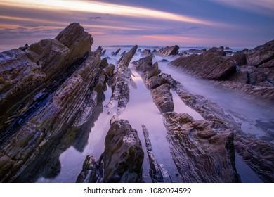 Spring sunset in basque coast
