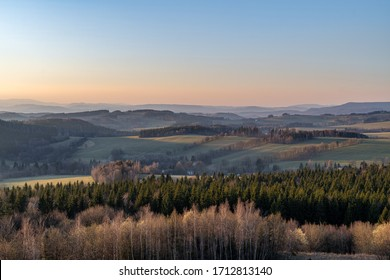 Spring sunset in Orlicke mountains in the evening light, Czech republic - Shutterstock ID 1712813140