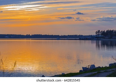 Spring sunset over the Gulf of Berd. The river Berd, Novosibirsk oblast, Siberia, Russia