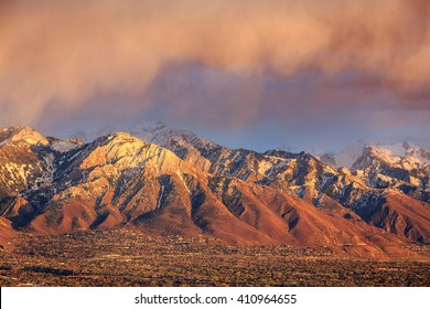 Spring sunset in the Wasatch Mountains above Salt Lake City, Utah, USA.