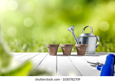 Spring table background with garden tools and free space for your decoration. Green blurred background of grass.