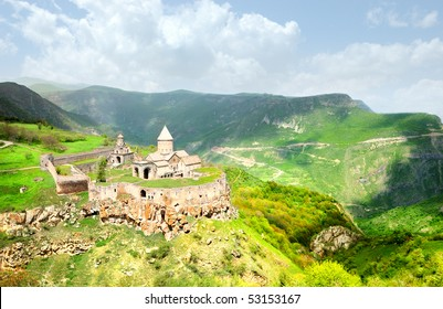 Spring Tatev monastery landscape in mountains in Armenia