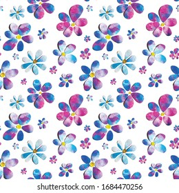 Spring tender blue pink flower hand painted watercolor paper-cut design seamless patter illustration. Perfect for textile, wallpaper or banner backgrounds, gift wrapping paper, card decoration.
