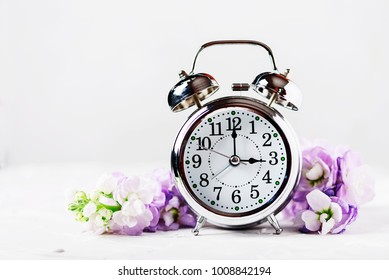 Spring Time Change, Spring flowers and Alarm Clock.
