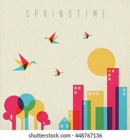 Spring time concept illustration. Urban city with tree forest, birds and buildings in vibrant color over vintage texture background.