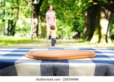 spring time and desk of wood on tablecloth